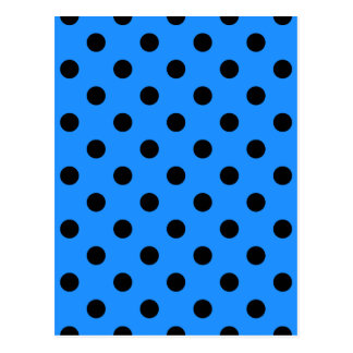 Polka Dots - Black on Dodger Blue Postcard