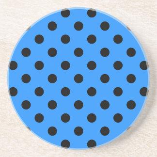 Polka Dots - Black on Dodger Blue Sandstone Coaster