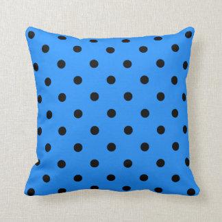 Polka Dots - Black on Dodger Blue Throw Pillow