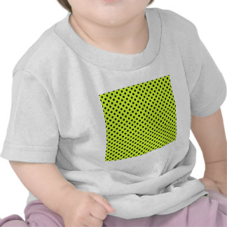 Polka Dots - Black on Fluorescent Yellow Tees