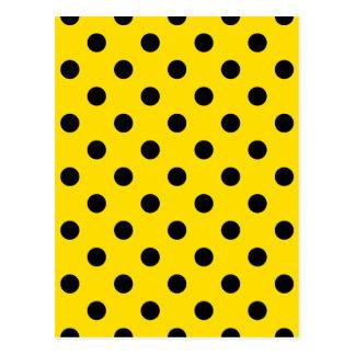 Polka Dots - Black on Golden Yellow Postcard