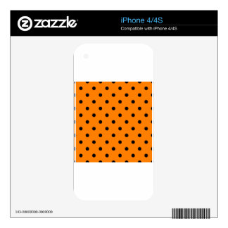 Polka Dots - Black on Orange Skins For The iPhone 4