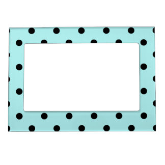 Polka Dots - Black on Pale Blue Photo Frame Magnets