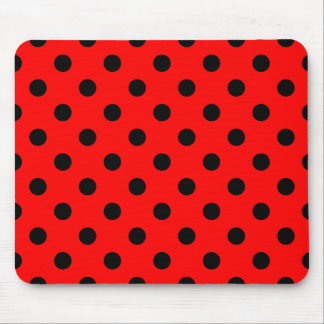 Polka Dots - Black on Red Mouse Pad