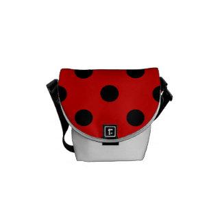 Polka Dots - Black on Rosso Corsa Messenger Bag