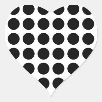 Polka dots - Black & White Heart Sticker