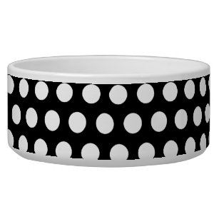 Pet Supplies Dishes, Feeders & Fountains Black Paw Dog Bowl With White Bowl And Black Dots