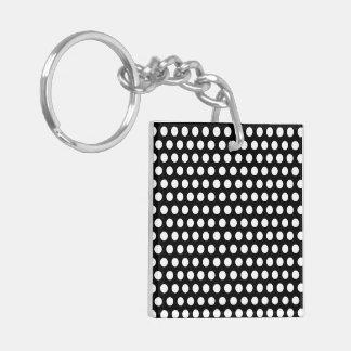 Polka dots black white retro spots keychain, gift Double-Sided square acrylic keychain