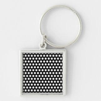 Polka dots black white retro spots pattern, gift keychain