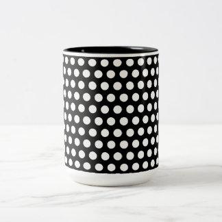 Polka dots black white spots retro pattern, gift Two-Tone coffee mug