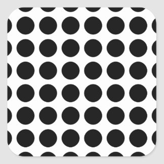 Polka dots - Black & White Square Sticker