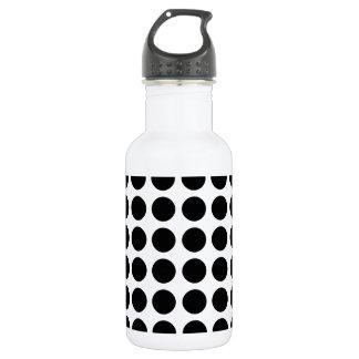 Polka dots - Black & White Stainless Steel Water Bottle