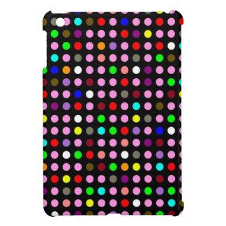 Polka Dots Black with Random Rainbow iPad Mini Cover