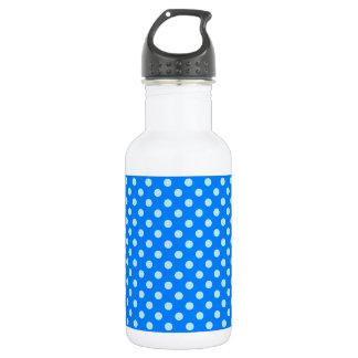 Polka Dots - Blizzard Blue on Azure Stainless Steel Water Bottle
