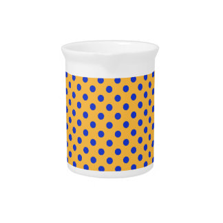 Polka Dots - Blue on Orange Drink Pitcher