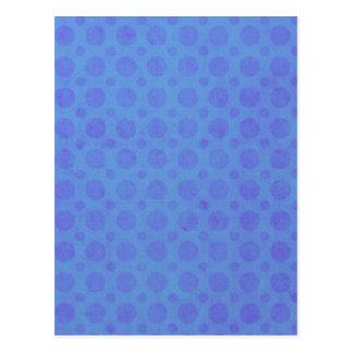 Polka Dots Blue Violet Watercolor Grunge Vintage Postcard