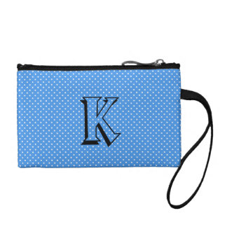 Polka dots blue white custom monogram, initial coin wallet