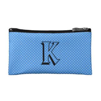 Polka dots blue white custom monogram, initial makeup bag