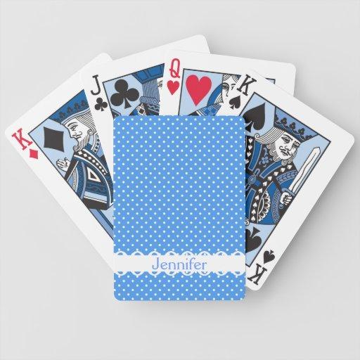 Polka dots blue white retro custom girls name bicycle playing cards