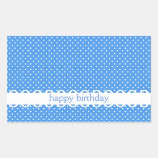 Polka dots blue white retro happy birthday sticker