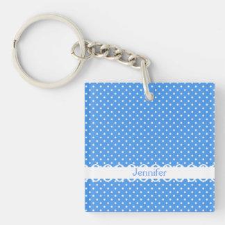 Polka dots blue white retro spot custom girls name keychain