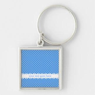 Polka dots blue & white retro spot custom keychain