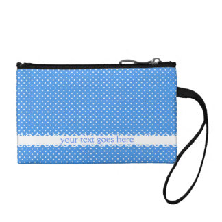 Polka dots blue white retro spots custom key coin change purses