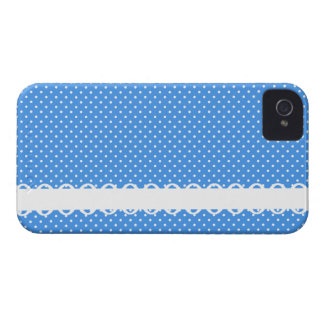 Polka dots blue white retro spots fancy border iPhone 4 Case-Mate case