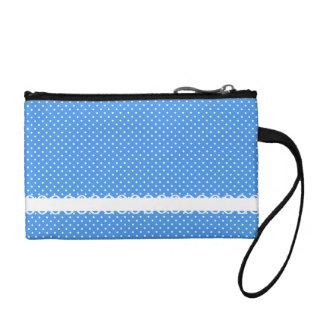 Polka dots blue white retro spots fancy coin purse