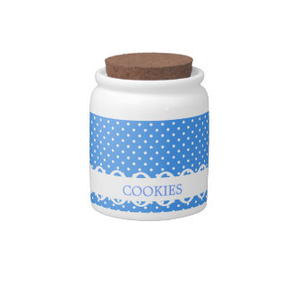 Polka Dots blue white retro spots fancy cookie jar Candy Dishes