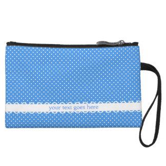 Polka dots blue white retro spots fancy custom wristlet wallet