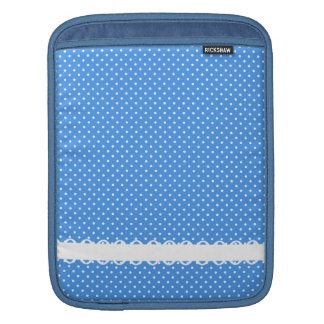 Polka dots blue & white retro spots fancy trim sleeves for iPads