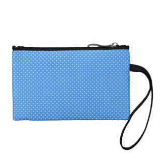 Polka dots blue white retro spots key coin  clutch change purses