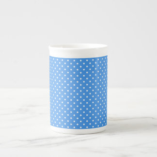 Polka dots blue & white spots retro bone china mug