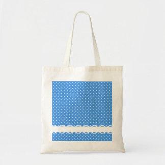 Polka dots blue & white spots retro fancy tote bag