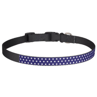 Polka dots blue & white stylish dog's collar