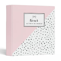 Polka Dots Blush Abtract Pattern Custom Taxes Binder