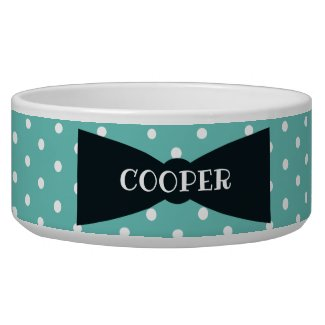 Polka Dots Bowtie Personalized Ceramic dog Bowl