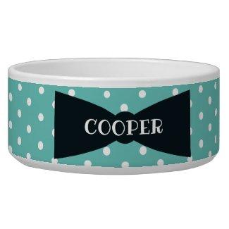 Polka Dots Bowtie Personalized Ceramic dog Bowl