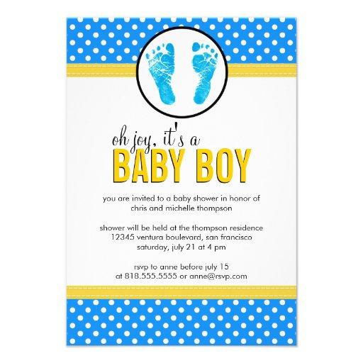 Polka Dots - Boy Baby Shower Invitation
