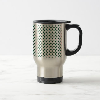 Polka Dots - British Racing Green on White Travel Mug