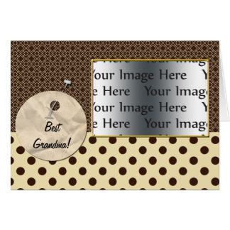 polka dots brown mother's day photo card