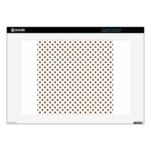 """Polka Dots - Brown Nose on White 15"""" Laptop Decals"""
