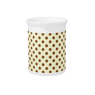 Polka Dots - Brown on Yellow Beverage Pitcher