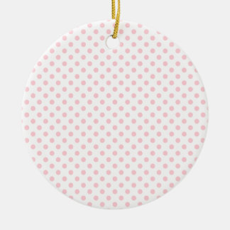 Polka Dots - Bubble Gum on White Double-Sided Ceramic Round Christmas Ornament