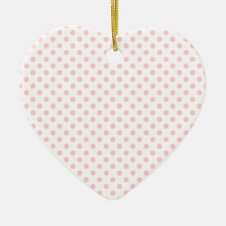 Polka Dots - Bubble Gum on White Double-Sided Heart Ceramic Christmas Ornament