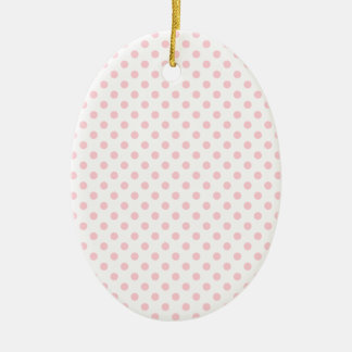 Polka Dots - Bubble Gum on White Double-Sided Oval Ceramic Christmas Ornament