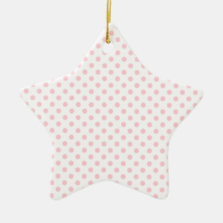Polka Dots - Bubble Gum on White Double-Sided Star Ceramic Christmas Ornament