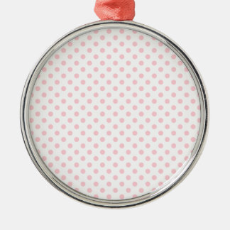 Polka Dots - Bubble Gum on White Round Metal Christmas Ornament