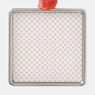 Polka Dots - Bubble Gum on White Square Metal Christmas Ornament